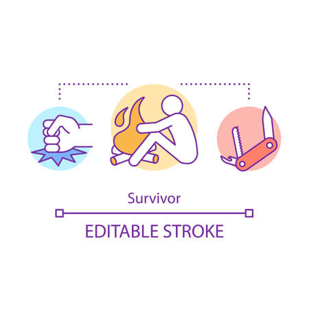 Survivor concept icon. Remaining alive idea thin line illustration. Rest near bonfire. Travelling in extreme conditions. Adventurous traveler. Vector isolated outline drawing. Editable stroke