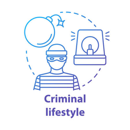 Criminal lifestyle blue concept icon. Committing crime idea thin line illustration. Terrorist with bomb. Robber, housebreaker. Terrorism attack. Vector isolated outline drawing. Editable stroke 向量圖像