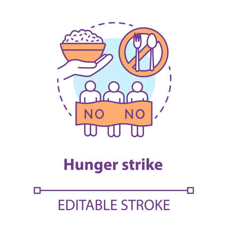 Hunger strike concept icon. Voluntary food abstinence, nonviolent protest idea thin line illustration. Protesters with banner, rice bowl and tableware vector isolated outline drawing. Editable stroke