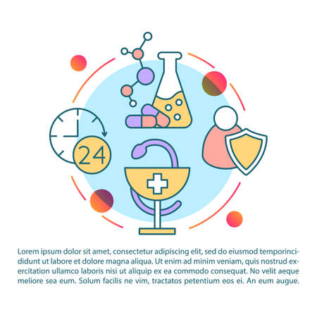 Poison safety article page vector template. Toxin antidote research. Brochure, magazine, booklet design element with linear icons and text boxes. Print design. Concept illustrations with text space