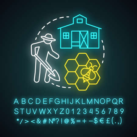 Back to the land neon light concept icon. Agrarian movement idea. Living in commune. Farming and beekeeping. Smallholding. Glowing sign with alphabet, numbers and symbols. Vector isolated illustration