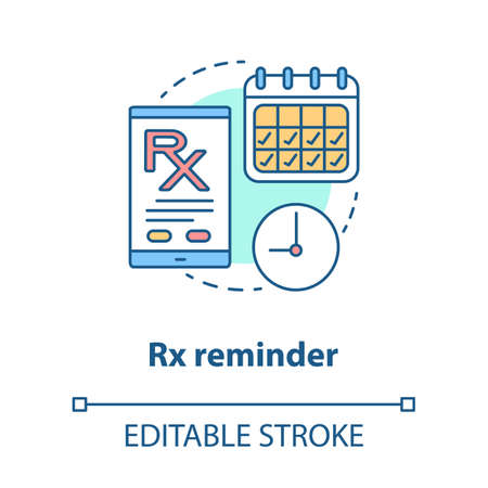Pharmacy concept icon. Rx medication intake reminder idea thin line illustration. Prescription drugs scheduled alarm. Smartphone medicine tracker. Vector isolated outline drawing. Editable stroke