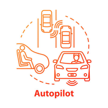 Autopilot concept icon. Autonomous car, driverless vehicle. Smart car. Self-driving auto idea thin line illustration. Vector isolated outline drawing. Editable stroke
