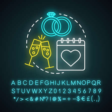 Wedding anniversary neon light concept icon. Marriage, engagement celebration date idea. Bridal party. Champagne, calendar and rings. Glowing alphabet, number and symbols. Vector isolated illustration