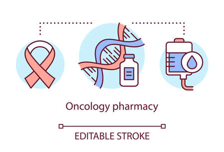 Pharmacy concept icon. Oncology medication research idea thin line illustration. Discovering drugs for cancer. Biotechnology and pharmacology. Vector isolated outline drawing. Editable stroke