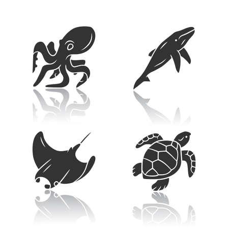 Underwater world drop shadow black glyph icons set. Swimming octopus, squid, turtle, whale. Ocean animals, undersea wildlife. Marine fauna. Aquatic creatures. Isolated vector illustrations