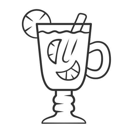 Hot toddy linear icon. Hot whiskey in Irish coffee glass. Beverage with lemon slices and cinnamon in footed tumbler with handle. Thin line illustration. Contour symbol. Vector isolated outline drawing 写真素材 - 129947303