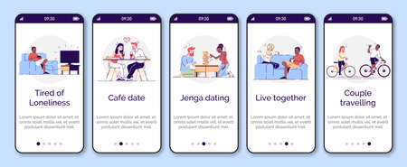 Romantic relationships, dating onboarding mobile app screen vector template. Walkthrough website steps with outline flat characters. Friends pastime UX, UI, GUI smartphone cartoon interface concept