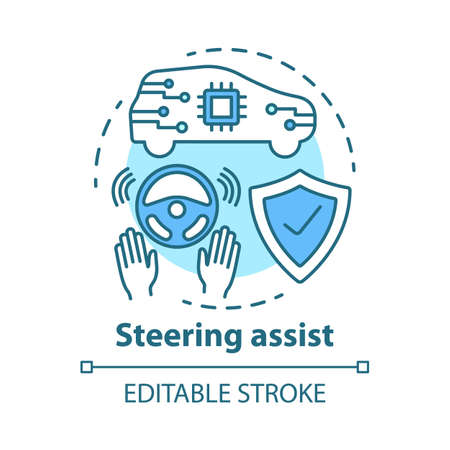 Steering assist concept icon. Smart car. Steering support. Driverless vehicle. Safe driving autopilot idea thin line illustration. Vector isolated outline drawing. Editable stroke