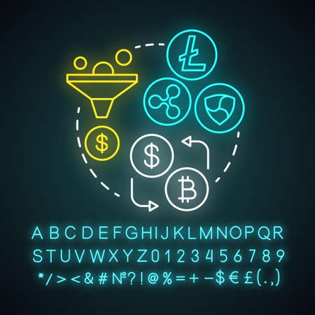 Cryptocurrency exchange neon light concept icon. Trading digital currency for other assets idea. Online business. Glowing sign with alphabet, numbers and symbols. Vector isolated illustration
