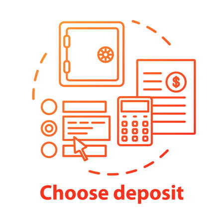 Choose deposit concept icon. Savings idea thin line illustration. Investment contract. Choosing financial plan. Calculating profits, pros and cons. Vector isolated outline drawing