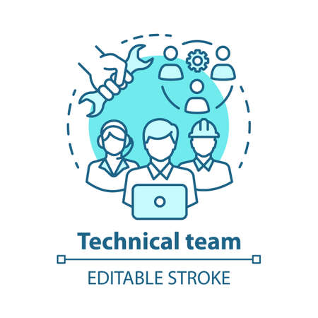 Technical team concept icon. Company staff, workforce idea thin line illustration. Software engineers and client service workers. Technical personnel. Vector isolated outline drawing. Editable stroke