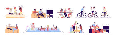 Friends having fun flat vector illustrations set. Young people relaxing in cafe, swimming pool, watching TV. Cyclists on bicycles isolated cartoon characters with outline elements on white background 일러스트
