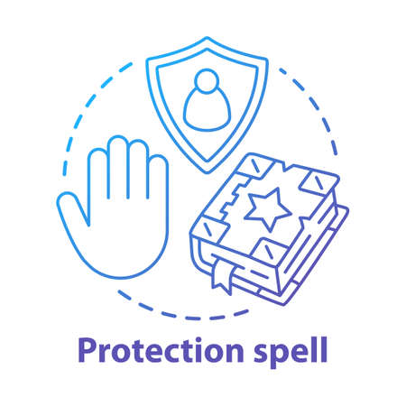 Protection spell concept icon. Occultism and superstition idea thin line illustration. Safety sorcery, security charm. Spellbook, shield and hand vector isolated outline drawing. Witchcraft service