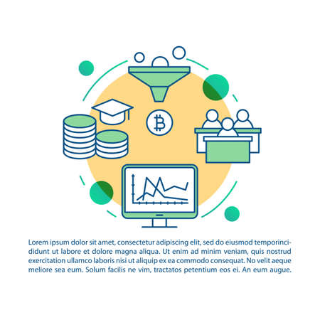 Cryptocurrency course article page vector template. Business training. Virtual money investment. Brochure, magazine, booklet design with linear icons and text. Print design. Concept illustrations Ilustracja