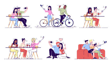 Selfie flat vector illustrations set. People taking self photo with friends, family, on dating, sport training. Capturing bright moment with phone camera isolated cartoon characters
