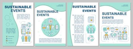 Layout del modello di brochure per la gestione di eventi sostenibili. Evento verde. Volantino, libretto, stampa depliant con illustrazioni lineari. Layout di pagina vettoriale per riviste, relazioni annuali, manifesti pubblicitari Vettoriali