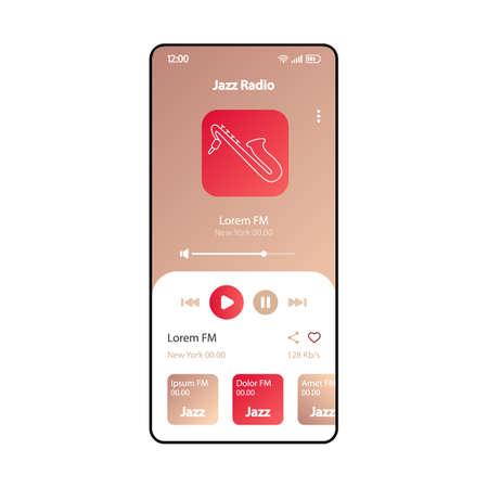 Jazz FM radio smartphone interface vector template. Mobile music player app page gradient design layout. Audio playlist, albums listening screen. Flat UI for application. MP3 player. Phone display Illusztráció