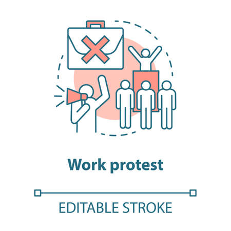 Work protest concept icon. Social demonstration, labor union strike, communism idea thin line illustration. Angry workers, people with megaphone vector isolated outline drawing. Editable stroke
