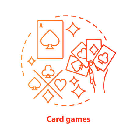 Card games concept icon. Poker & blackjack idea thin line illustration. Playing cards suits, aces. Gambling, games of chance. Casino. Vector isolated outline drawing  イラスト・ベクター素材
