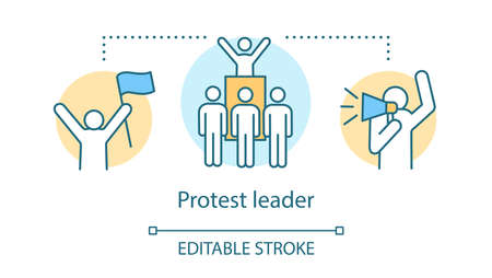 Protest leader concept icon. Public demonstration, social strike idea thin line illustration. Activist holding flag, crowd and protester with megaphone vector isolated outline drawing. Editable stroke 向量圖像