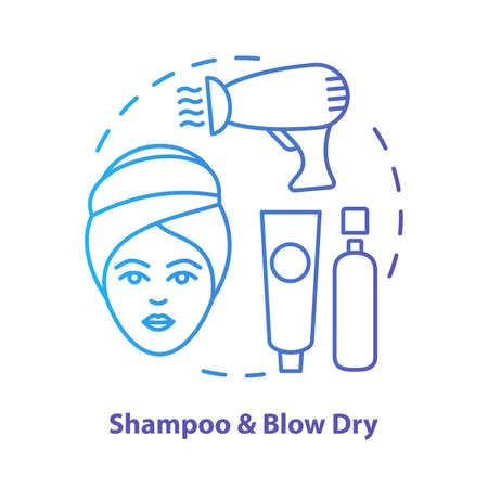 Shampoo and blow dry blue concept icon. Hair care, treatment products idea thin line illustration. Hairdresser salon, hairstylist parlor. Blue gradient vector isolated outline drawing. Editable stroke Ilustração