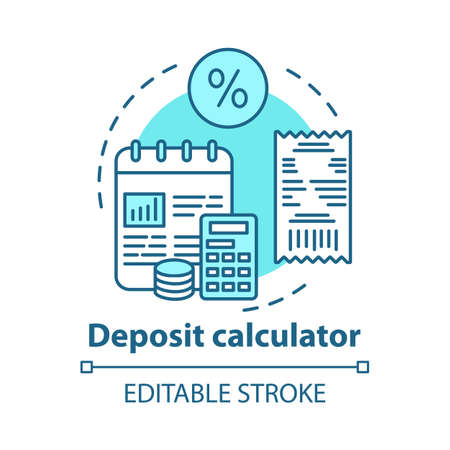 Deposit calculator  concept icon. Savings idea thin line illustration. Accounting tool. Budgeting and financing. Counting profits, interest percentage. Vector isolated outline drawing. Editable stroke Imagens - 129947542