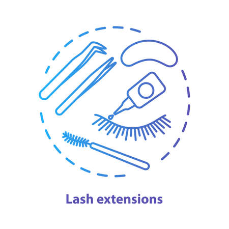 Lash extension blue concept icon. False eyelashes, permanent makeup idea thin line illustration. Cosmetology salon procedure. Blue gradient vector isolated outline drawing. Editable stroke
