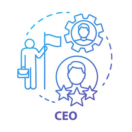 CEO concept icon. Chief executive, boss, top manager idea thin line illustration. Leadership, career growth and personal achievement. Best employee. Vector isolated outline drawing