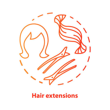 Hair extensions blue concept icon. Clip in hair tapes, wig and accessories idea thin line illustration. Hairdresser, hairstylist parlor. Red gradient vector isolated outline drawing. Editable stroke  イラスト・ベクター素材