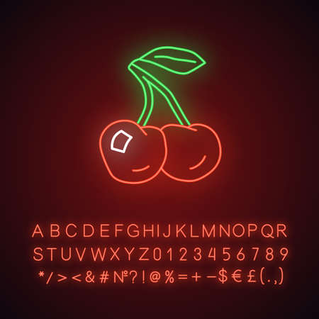 Ripe cherries neon light icon. Glowing sign with alphabet, numbers and symbols. Organic antioxidant, fresh berries vector isolated illustration. Healthy food, vegetarian nutrition, vitamin diet