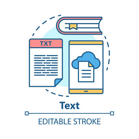 Text concept icon. Different types of textual information idea thin line illustration. Books, news, advertisements. Documents and files, articles. Vector isolated outline drawing. Editable stroke
