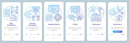 Software development stages onboarding mobile app page screen vector template. Computer program creation. Walkthrough website steps with linear illustrations. UX, UI, GUI smartphone interface concept Ilustracja