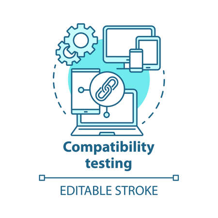 Compatibility testing concept icon. Non-functional examination. Checking software on different devices idea thin line illustration. Vector isolated outline drawing. Editable stroke Illustration