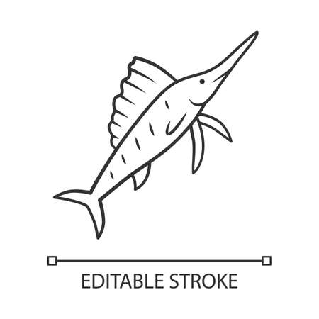 Sailfish linear icon. Fish with sharp nose. Undersea swordfish. Aquatic creature. Marine nature. Ocean fauna thin line illustration. Contour symbol. Vector isolated outline drawing. Editable stroke