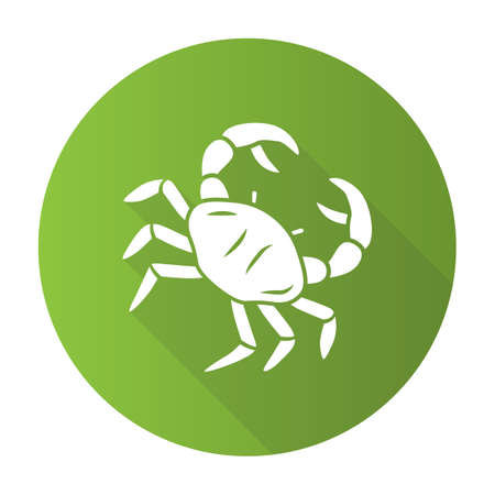 Crab green flat design long shadow glyph icon. Swimming sea animal with pincers. Zodiac sign. Underwater creature, aquatic animal. Ocean aquarium. Seafood restaurant. Vector silhouette illustration