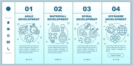 Software development methodologies onboarding mobile web pages vector template. Responsive smartphone website interface idea with linear illustrations. Webpage walkthrough step screens. Color concept