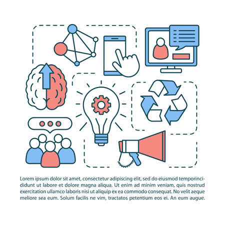 Generation Z article page vector template. Information exchange in modern society. Brochure, magazine, booklet design element with linear icons. Print design. Concept illustrations with text