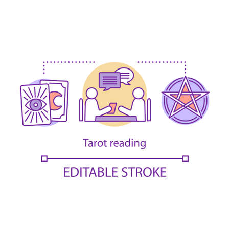 Tarot reading concept icon. Fortune telling, divination and cartomancy idea thin line illustration. Oracle with client, pentagram and clairvoyant cards vector isolated outline drawing. Editable stroke Stock Illustratie