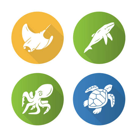 Underwater world flat design long shadow glyph icons set. Swimming octopus, squid, turtle, whale. Ocean animals, undersea wildlife. Marine fauna. Aquatic creatures. Vector silhouette illustration Illustration