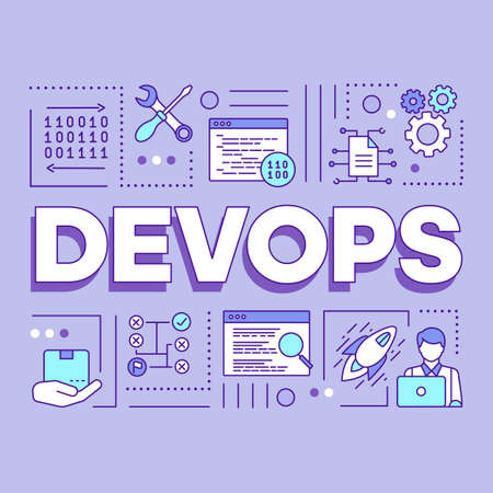 DevOps word concepts banner. Software development and operations collaboration. Binary system. Presentation, website. Isolated lettering typography idea with linear icons. Vector outline illustration Ilustrace
