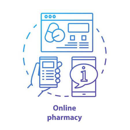 온라인 약국 개념 아이콘입니다. 가상 약사 서비스 아이디어 얇은 선 그림입니다. 인터넷 약국 웹사이트, 의료 자문 포럼. 벡터 격리 개요 그리기