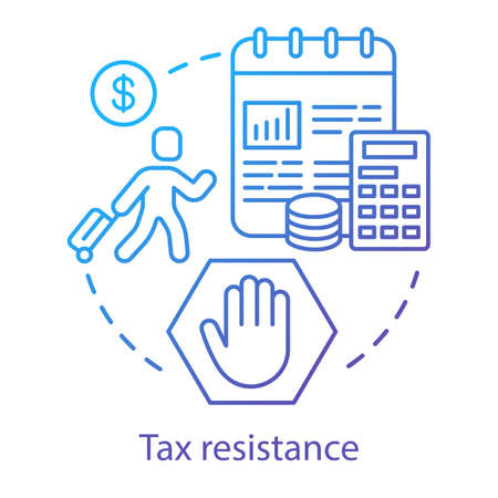 Tax resistance concept icon. Civil disobedience, government manifestation idea thin line illustration. Taxpayer with suitcase, notepad and calculator vector isolated outline drawing. Taxation evasion