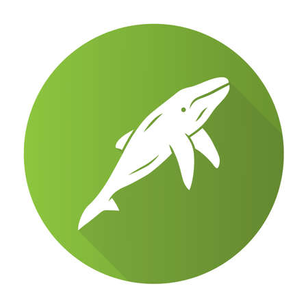 Whale green flat design long shadow glyph icon. Marine mammal. Underwater world inhabitant. Ocean predator. Aquatic animal, wildlife nature. Zoology and oceanography. Vector silhouette illustration