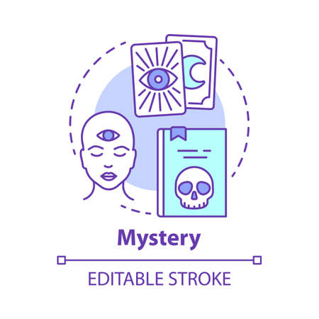 Mystery concept icon. Occult books idea thin line illustration. Mysticism, taromancy & esoteric literature. Fortune telling and divination. Vector isolated outline drawing. Editable stroke