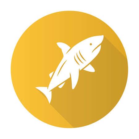 Shark yellow flat design long shadow glyph icon. Dangerous ocean predator. Swimming large fish. Aquatic animal, ocean wildlife. Marine fauna. Wild shark in aquarium. Vector silhouette illustration