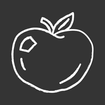 Ripe apple chalk icon. Organic fresh fruit isolated vector chalkboard illustration. Healthy food, vegetarian nutrition, vitamin diet symbol. Natural juice, american pie ingredient. Delicious dessert