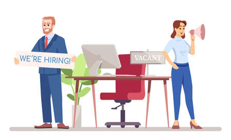 HR managers looking for worker flat vector illustration. Staff recruitment in team. Vacant job position. Hot vacancy. Man and woman hiring employers isolated cartoon character on white background