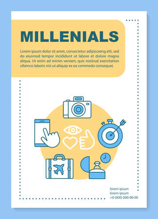 Millennials poster template layout. Age group. Core values and lifestyle. Banner, booklet, leaflet print design with linear icons. Gen Y. Vector brochure page layouts for magazines, advertising flyers