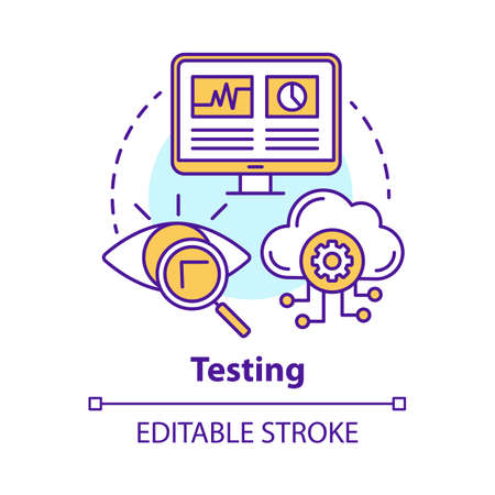 Testing concept icon. Search for information on computer and cloud storage. Web analytics. Defects recognizing idea thin line illustration. Vector isolated outline drawing. Editable stroke